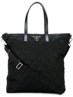 сумка-тоут с декоративной строчкой Prada