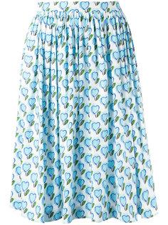 присборенная юбка с рисунком из сердец Prada