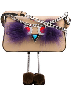 сумка через плечо с отделкой перьями Fendi