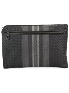 кожаный плетеный портфель на молнии Bottega Veneta