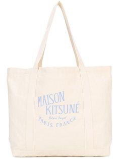 сумка-тоут с принтом-логотипом Maison Kitsuné