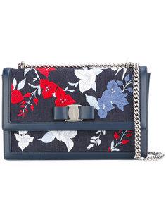 джинсовая сумка через плечо с цветочным узором Salvatore Ferragamo