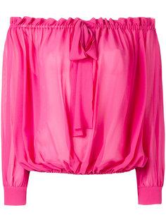 плиссированная блузка с открытыми плечами Miu Miu