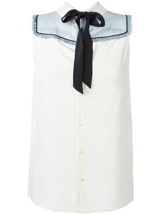 блузка с бантом без рукавов Miu Miu