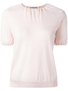 футболка со сборками у шеи и на рукавах Prada