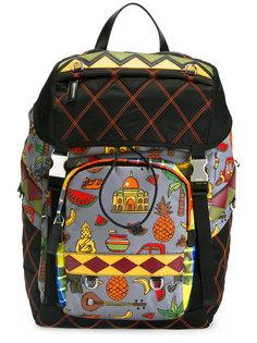 стеганый рюкзак с графическим принтом Prada