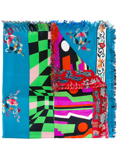 stripe and floral fringed scarf Pierre-Louis Mascia