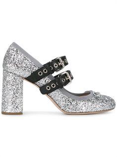 блестящие туфли с пряжками Miu Miu