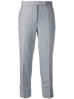 укороченные брюки в тонкую полоску Thom Browne