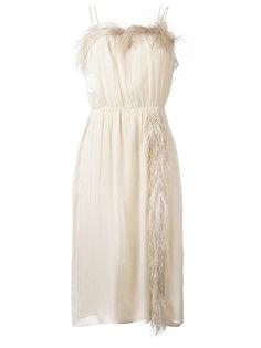 платье с перьями Prada