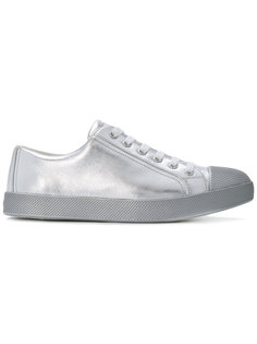 metallic lace-up trainers Prada