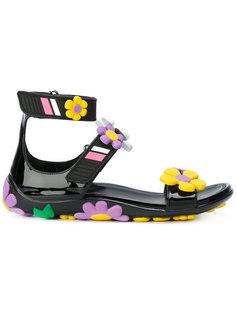 сандалии с цветочной аппликацией Prada