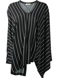 блузка в полоску с драпировкой Balenciaga