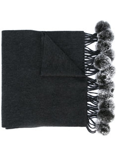 fur bobble woven scarf  N.Peal