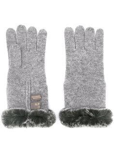 fur trim gloves N.Peal