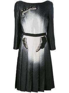 декорированное платье с эффектом окраски балончиком Prada