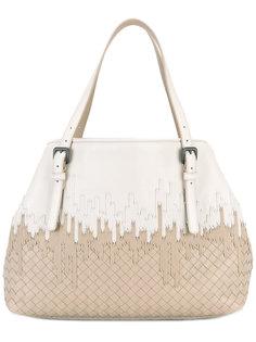 плетеная двухцветная сумка-тоут   Bottega Veneta