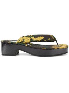 парчовые шлепанцы с цветочным узором Dries Van Noten