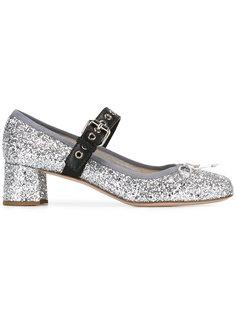 туфли с отделкой мелкими блестками Miu Miu