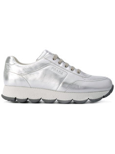 metallic trainers Prada