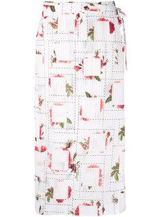 юбка с запахом и принтом роз Chalayan