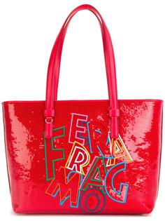 сумка-тоут с надписью Salvatore Ferragamo