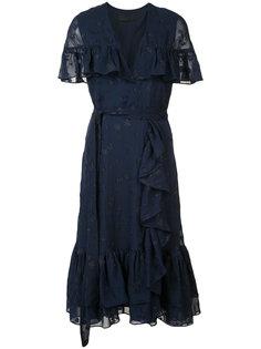 belted ruffle trim dress  Co