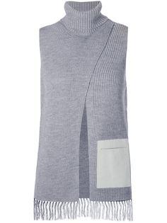 топ с контрастным кожаным карманом  Astraet
