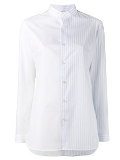 half stripe collarless shirt Marie Marot