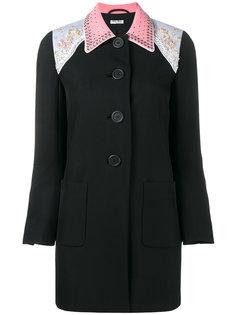 пальто с блестящей отделкой Miu Miu