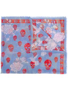 шарф с принтом черепа и колибри  Alexander McQueen