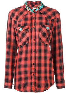 beaded neck checked shirt Forte Couture