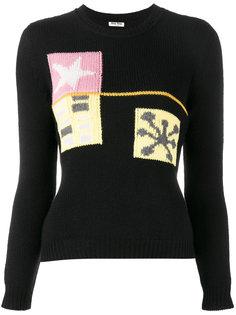 кашемировый свитер вязки интарсия Miu Miu