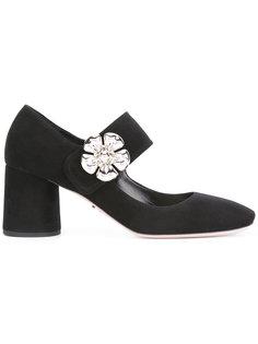 туфли-лодочки с цветочной отделкой Prada