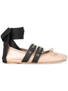 балетки балетки с завязками на щиколотке Miu Miu