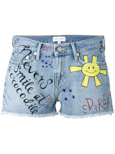 graffiti denim short shorts Mira Mikati