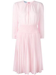 платье миди с плиссировкой Prada