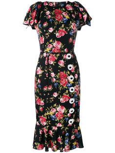 платье с рисунком из роз Dolce & Gabbana