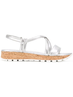 металлизированные сандалии на платформе Prada