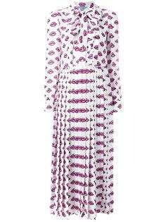 платье-рубашка с узором в виде губ Prada