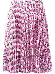 плиссированная юбка с рисунком из сердец Prada