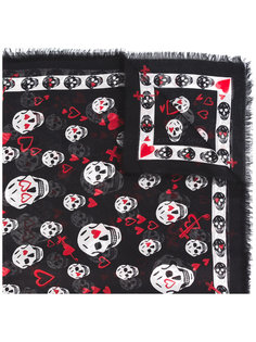 шарф Skull Heart с необработанными краями Alexander McQueen