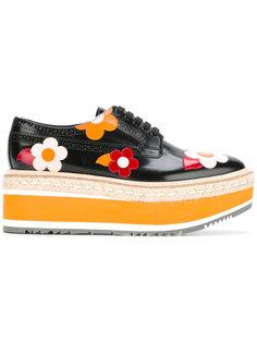 ботинки на платформе с цветочной отделкой Prada