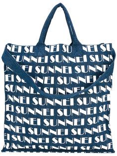 сумка-шоппер с принтом логотипа Sunnei