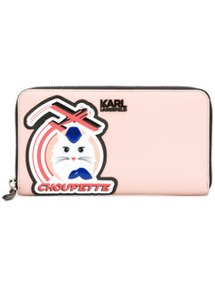 кошелек на молнии с заплаткой Choupette  Karl Lagerfeld