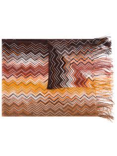 шарф с зигзагообразным узором и бахромой Missoni