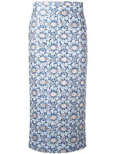 жаккардовая юбка миди с цветочным узором Rochas
