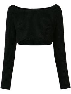 long sleeve cropped rib knit sweater Baja East
