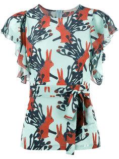 блузка с поясом и принтом кроликов LAutre Chose