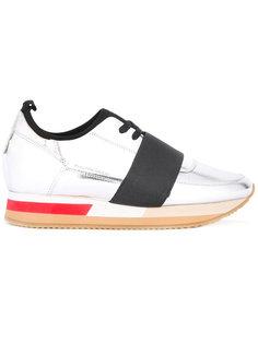 кроссовки на шнуровке с эффектом металлик Philippe Model